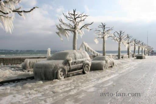 Обледеневшие автомобили и деревя