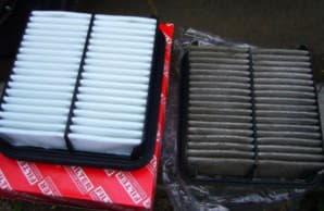 Загрязненный воздушный фильтр двигаетлья